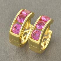 Argollas Oro Laminado Cristales Rosa