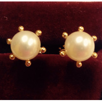 Hermosos Aros Oro 18 Ktes Perlas Cultivadas 7.0 Mm Psp Gps