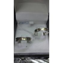 Par Argolla Matrimonio Toda Plana Plata C/oro 18 Ktes Au007