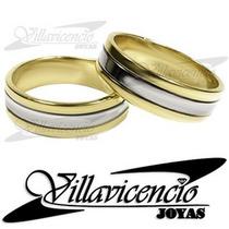 Argollas Oro Blanco 18k Y Oro 18k 10 Gr Cinta