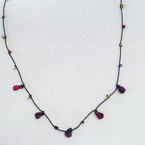 Collar De Hilo De Seda, Oro 14 Kl. Y Piedras Naturales