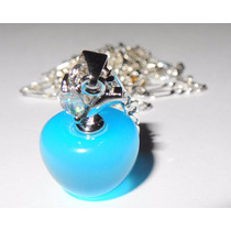 Colgante Cadena De Plata 925 Opalo Azul Manzana Joyas