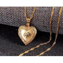 Collar Amor Relicario Corazón Allah Islam Maoma Enchape Oro