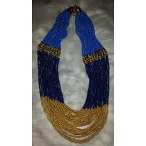 Collar Azul, Negro Dorado (mostacilla) Precioso