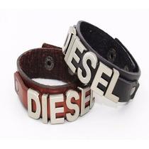 Pulsera Diesel Cuero, Letras Metalicas Grandes