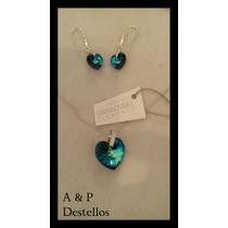 Conjunto De Plata Con Circones Y Cristal Sarovski Azul