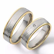 Argollas De Matrimonio Bicolor Oro 18 K Y Plata Con Cristal