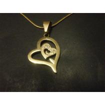 Collar De Acero Dorado Corazón Con Circón