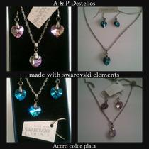 Conjunto De Acero Con Swarovski Elements Vitral Y Azul