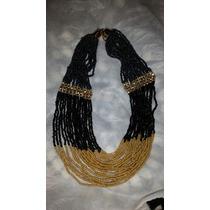 Collar Negro Con Dorado Precioso (mostacillas)