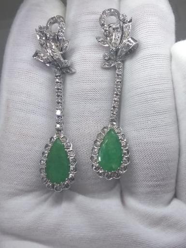 e6b2206e51e4 Joyería Antigua De Paladio Aretes Con Esmeraldas Y Diamantes ...
