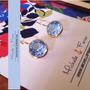 Zarcillos Swarovski Esfera Azul Orfebreria