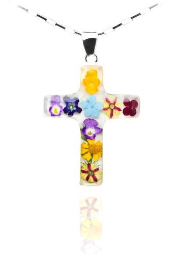 joyería con flores tami plata .925 cruz grande