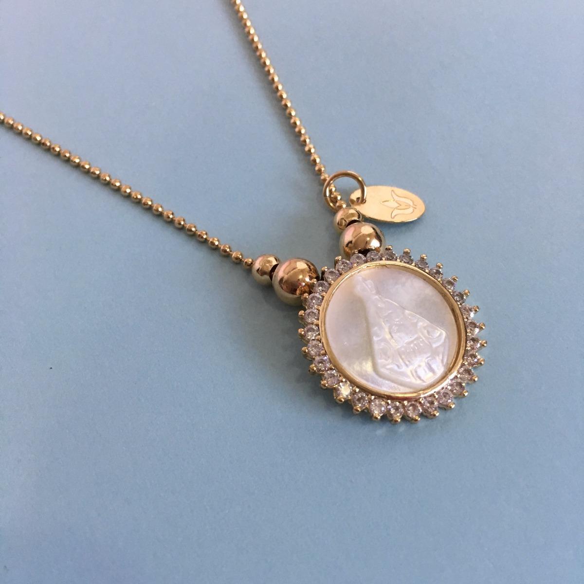 d0003f067976 joyería femenina artesanal cadena con escapulario de nácar. Cargando zoom.