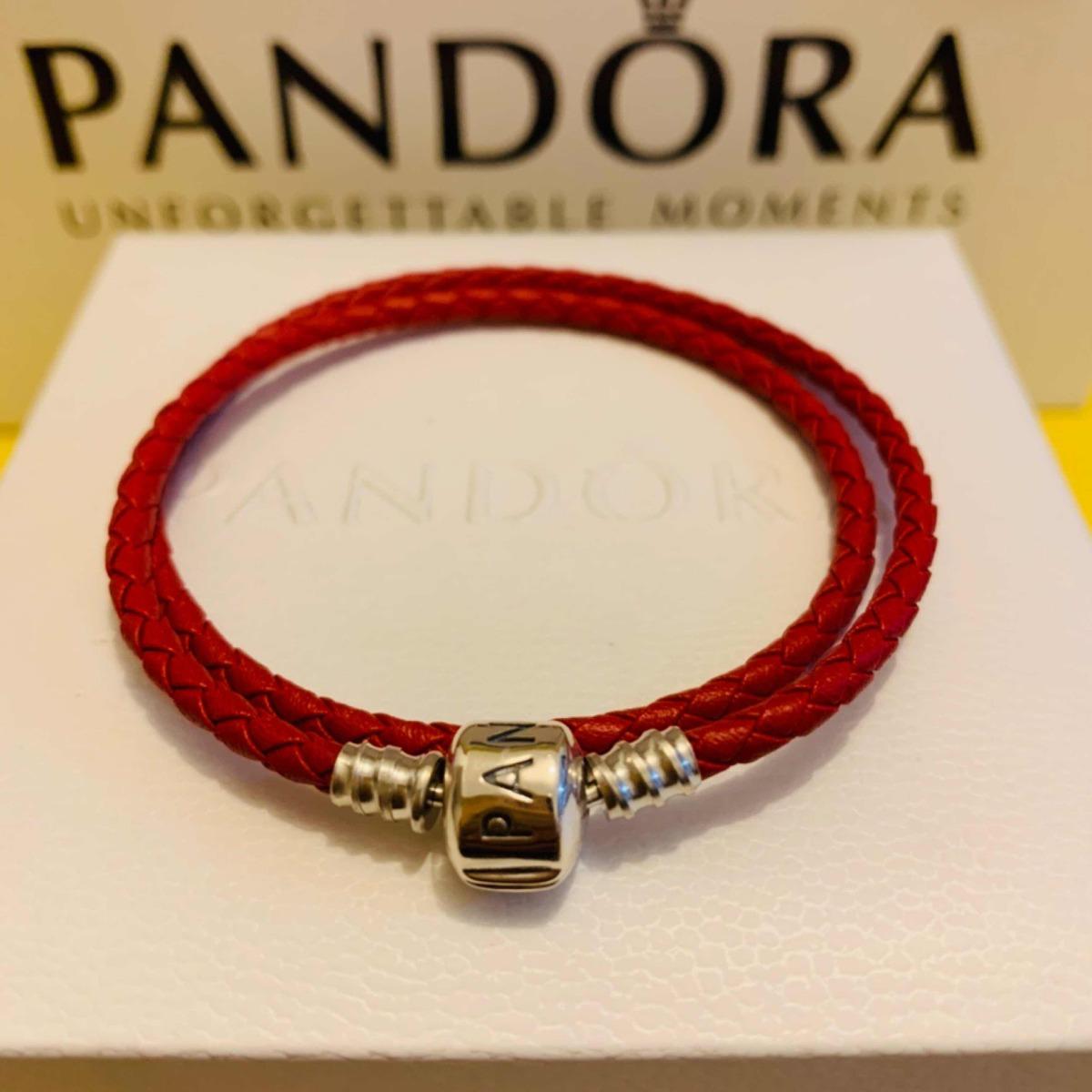 665efa9fe3c4 Joyería Pandora Original Pulsera Cuero Rojo Para Charms
