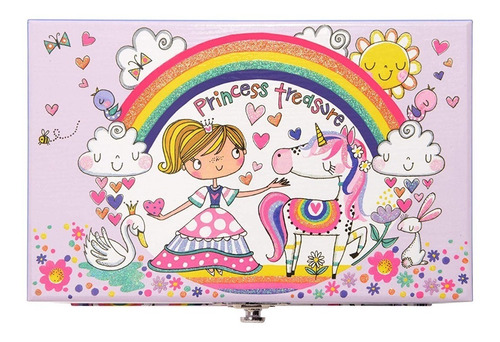 joyero musical con 1 cajon diseño princesa y unicornio msi