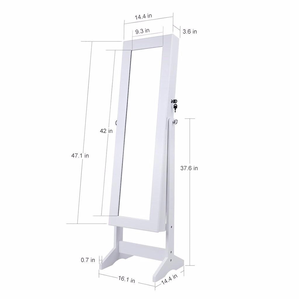 Joyero organizador armario espejo alhajero madera blanco for Espejo madera blanco