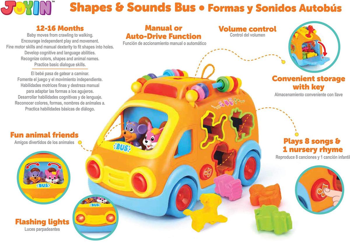 Bus De Juguete Joyin Sonidos Y Par Escuela Formas Musical QrxeCodWB