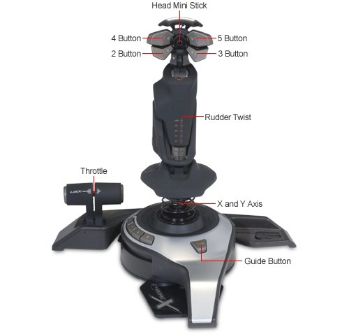 joystick pc simulador voo manche saitek fly5 + nf e garantia