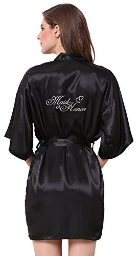 joytton women satin kimono wedding party robe with