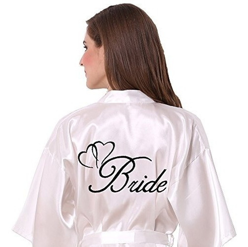 joytton women's satin kimono wedding party robe with