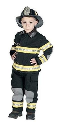 jr. traje de bombero con casco, talla 8 10  negro