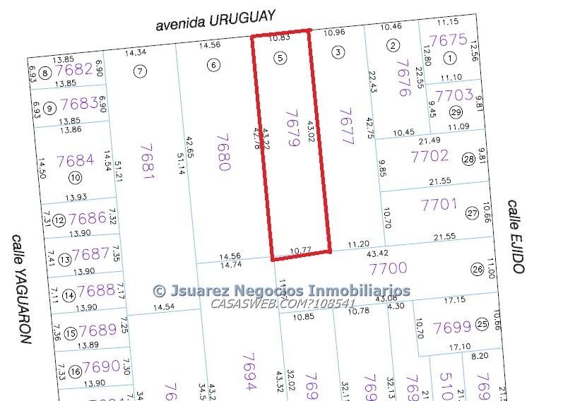 j.s terreno en centro sobre av. uruguay