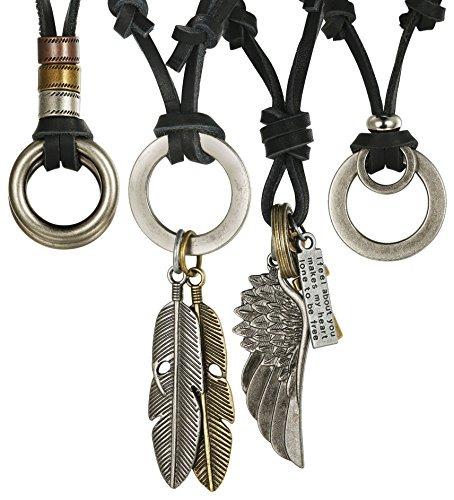 79ba07bc43e5 Jstyle 4 Piezas Collar De Cuero Para Hombres Mujeres -   68.777 en ...