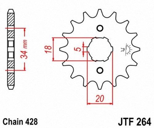 jt piñones jtf26416 16t piñón delantero de acero