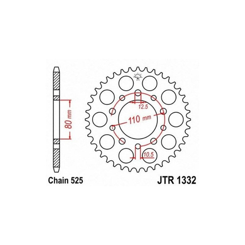 jt piñones jtr1332.47 47t piñón trasero de acero