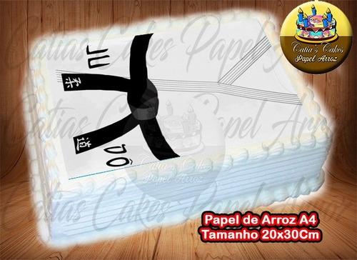 judô kimono judogi faixa preta papel de arroz p/ bolo a4