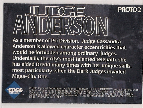 judge dredd judge anderson prototype promo card #2 edge