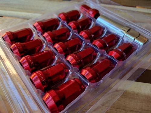 juego 16 tuercas llanta rojo (1.5x12mm) tuning carro