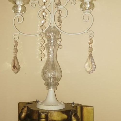 juego 2 candelabros de ceramica y cristal blancos luis xv
