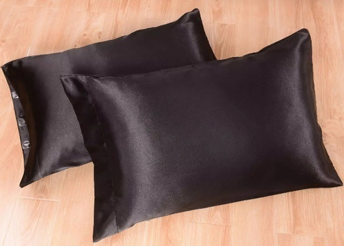 juego 2 pz king fundas almohada negro de satin sedoso fino!