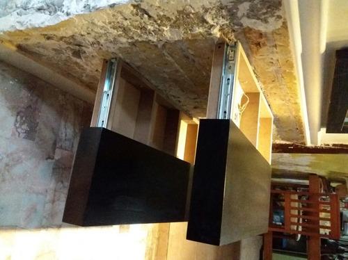 juego 2 repisas flotantes cajón oculto, librero sala comedor