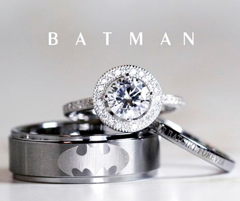6be5eca6 Juego 3 En 1 Argollas Anillos Batman Plata .925 Pareja Amor