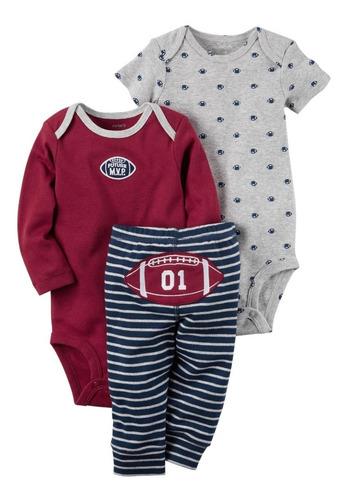 juego 3 piezas carter's baby boy pantalones rayas de fútbol
