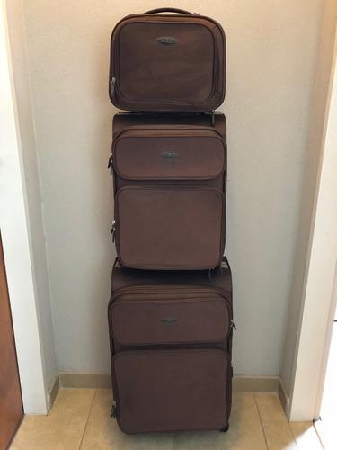 juego 3 valijas primicia - tela combinada muy lindas