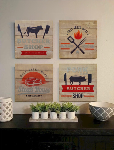 juego 4 cuadros modernos vintage comedor cocina o terraza