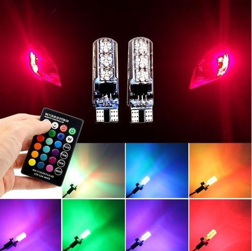 juego 4 luces led multicolor a control remoto t10 auto motos