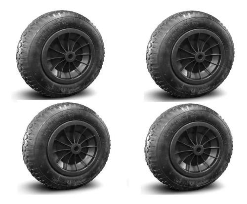 juego 4 ruedas carretilla 14  eje 20mm buje zona norte