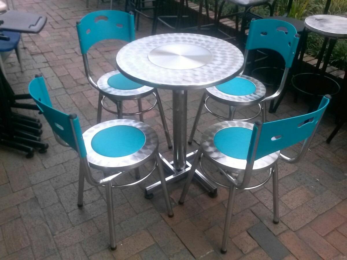 Juego 4 sillas karla cuero y mesa acero para restaurante for Sillas de acero para comedor