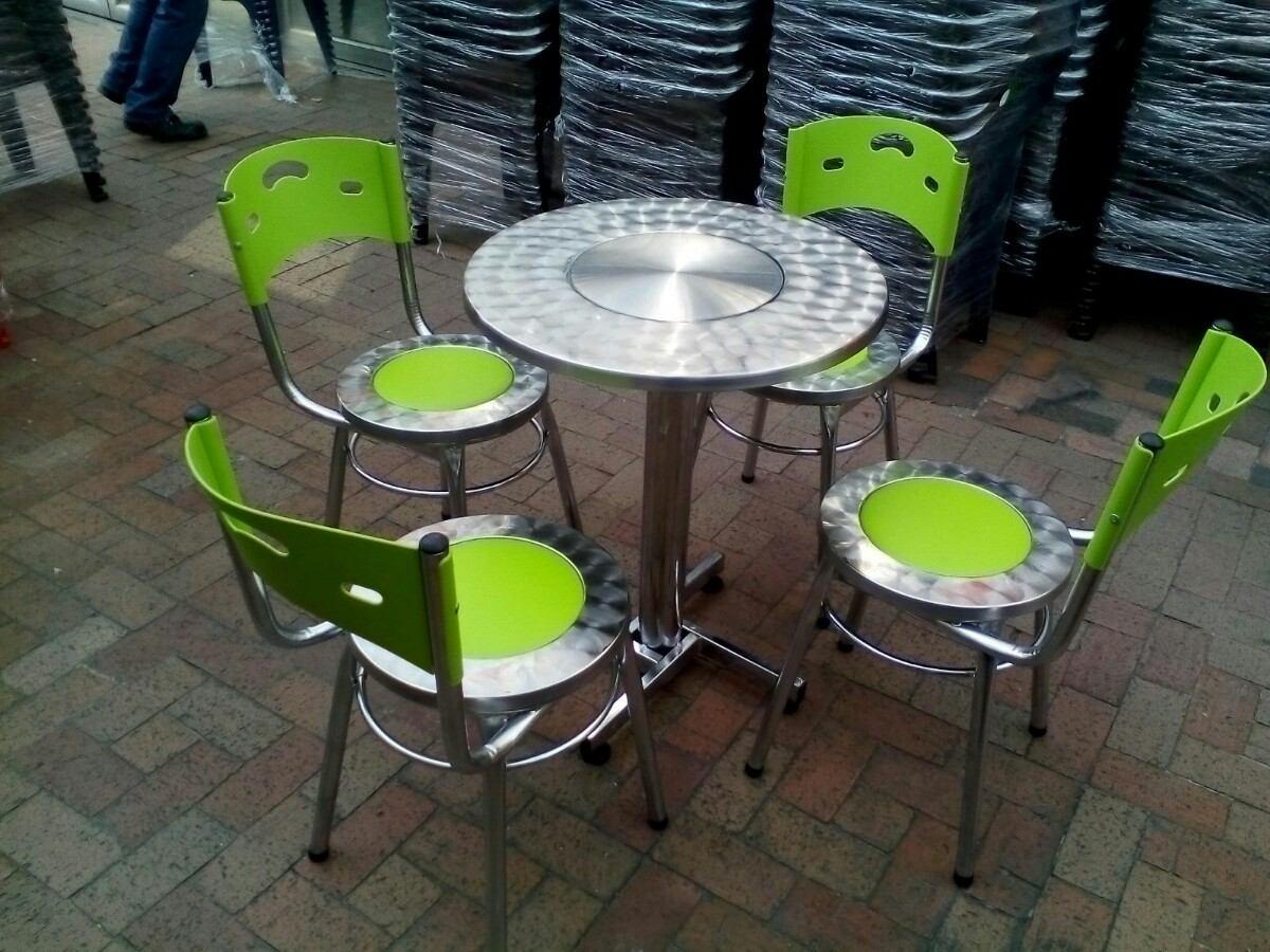 Juego 4 sillas karla cuero y mesa acero para restaurante for Sillas para local de comidas rapidas