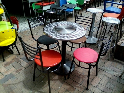 Juego 4 sillas karla y mesa en acero para restaurante bar for Bar mercado libre