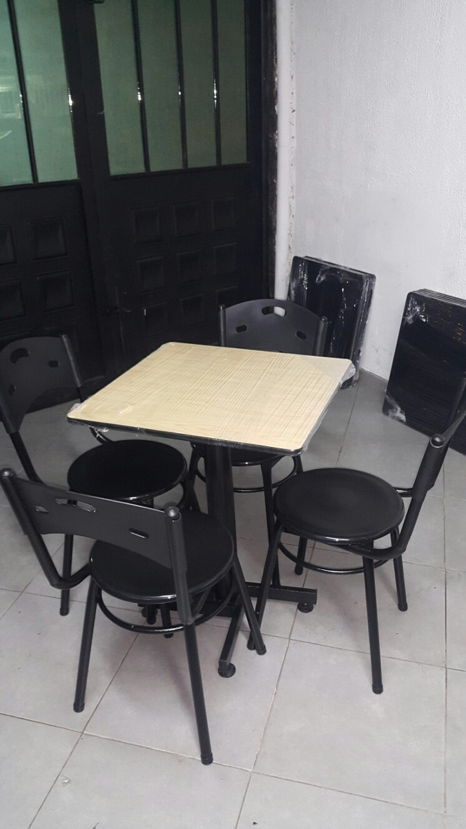 Juego 4 Sillas Karla Y Mesa Madera Para Cafe Bar Restaurante  # Muebles Silvia Bucaramanga