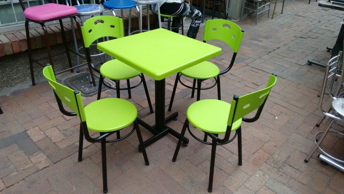 juego 4 sillas karla y mesa plastico para restaurante y