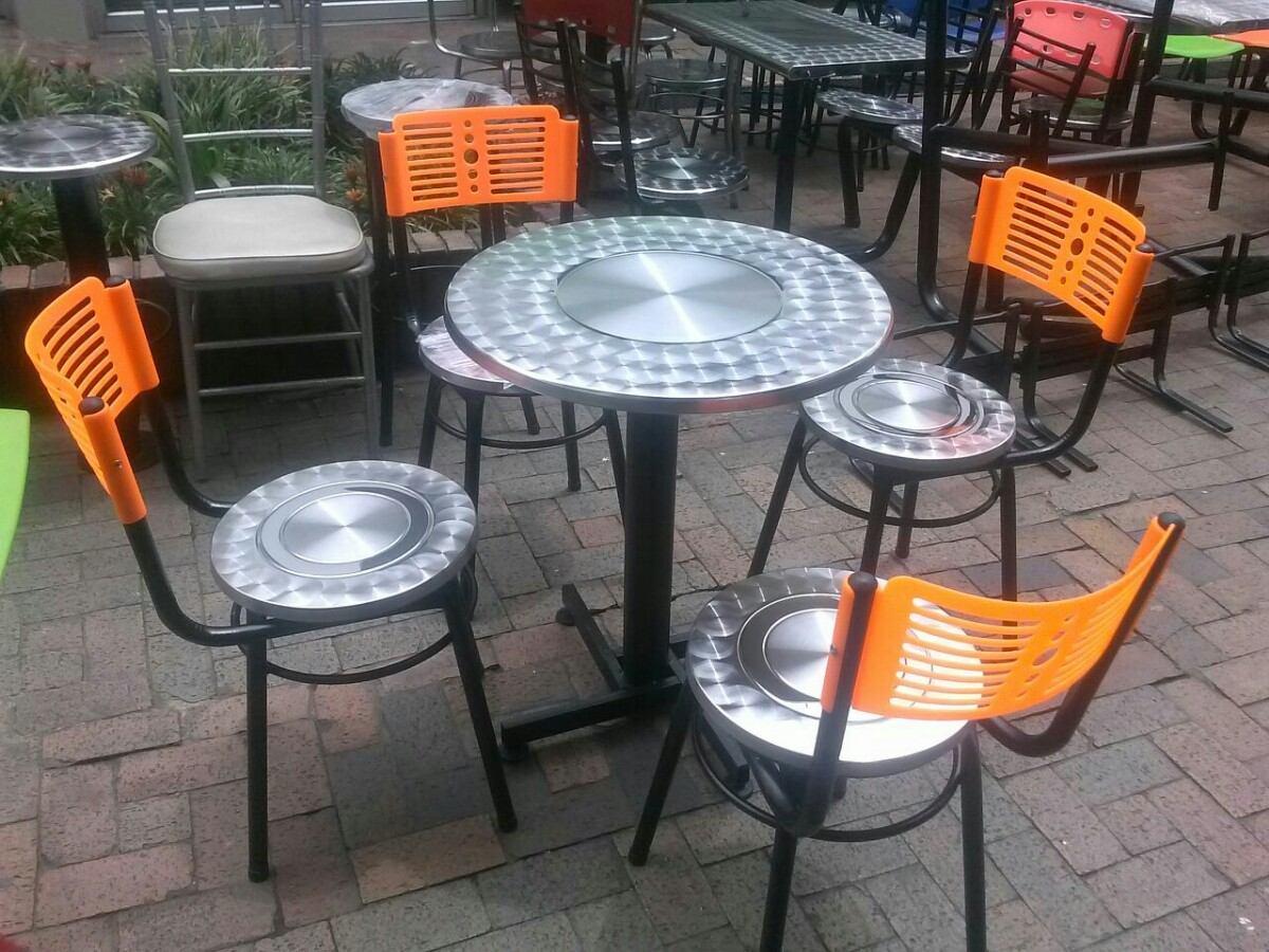 Juego 4 sillas karla y mesa todo acero para bar - Sillas para restaurante ...