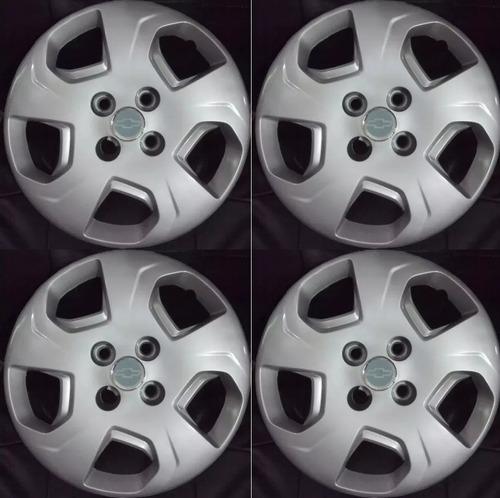 juego 4 tazas de rueda chevrolet celta prisma rod14 + logos