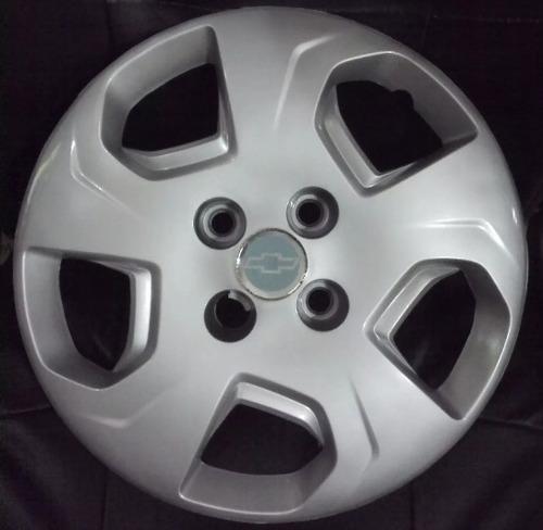 juego 4 tazas rueda chevrolet celta prisma rodado 14 + logos